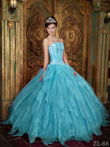 Gorgeous Ball Gown Strapless Floor-length Appliques Organza Aqua Blue Quinceanera Dress