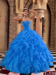 Blue Ball Gown Sweetheart Floor-length Ruffles Organza Quinceanera Dress
