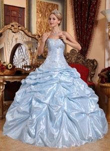 Baby Blue Ball Gown Sweetheart Floor-length Taffeta Embroidery with Beading Quinceanera Dress