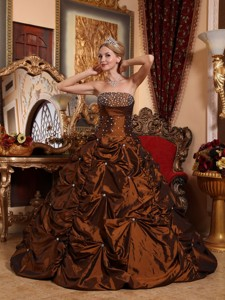 Brown Strapless Floor-length Taffeta Beading Quinceanera Dress