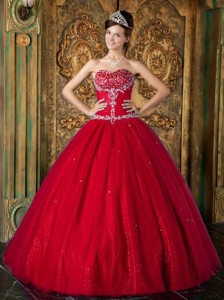 Wine Red Princess Sweetheart Floor-length Beading Tulle Quinceanera Dress