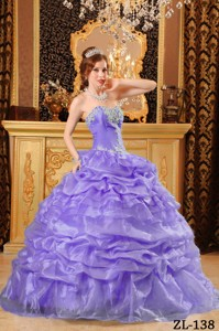 Lavender Ball Gown Sweetheart Floor-length Organza Appliques Quinceanera Dress