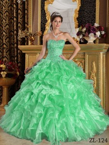 Apple Green Ball Gown Sweetheart Floor-length Ruffles Organza Quinceanera Dress