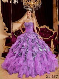 Lavender Ball Gown Sweetheart Floor-length Beading Leopard and Organza Quinceanera Dress