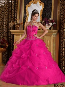 Hot Pink Ball Gown Strapless Floor-length Pick-ups Tulle Quinceanera Dress