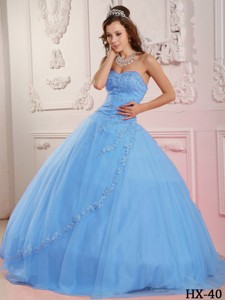 Classical Ball Gown Sweetheart Floor-length Tulle Appliques Baby Blue Quinceanera Dress
