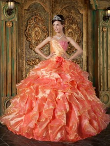 Orange Ball Gown Strapless Floor-length Beading and Ruffles Quinceanera Dress