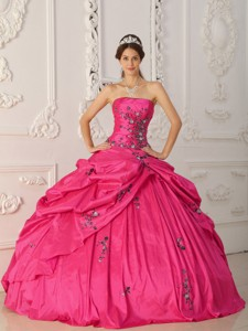 Coral Red Ball Gown Strapless Floor-length Taffeta Appliques Quinceanera Dress