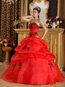 Red Ball Gown Sweetheart Floor-length Satin and Organza Embroidery Quinceanera Dress