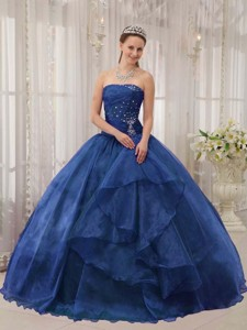 Blue Ball Gown Strapless Floor-length Organza Beading Quinceanera Dress
