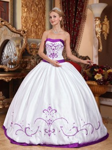 White and Purple Strapless Floor-length Satin Embroidery Quinceanera Dress