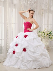Hot Pink and White Ball Gown Strapless Floor-length Taffeta Hand Made Flower Quinceanera Dress