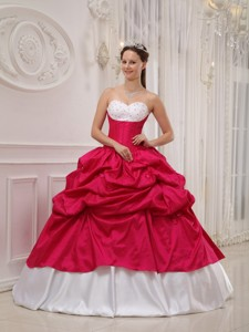 Hot Pink and White Ball Gown Sweetheart Floor-length Taffeta Beading and Pick-ups Quinceanera Dress