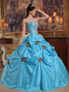 Teal Ball Gown Strapless Floor-length Taffeta Beading and 3D Flower Quinceanera Dress