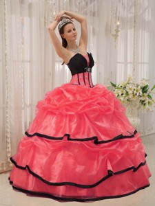 Red and Black Ball Gown Strapless Floor-length Beading Quinceanera Dress