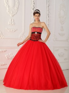 Red Princess Strapless Floor-length Tulle And Zebra Beading Quinceanera Dress