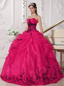Red and Black Ball Gown Strapless Floor-length Organza Appliques Quinceanera Dress
