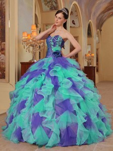 Clorful Ball Gown Sweetheart Ruffles Organza Quinceanera Dress