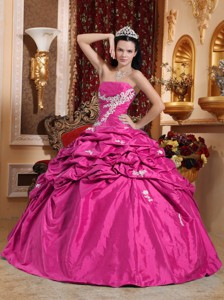 Hot Pink Ball Gown Strapless Floor-length Taffeta Appliques Quinceanera Dress