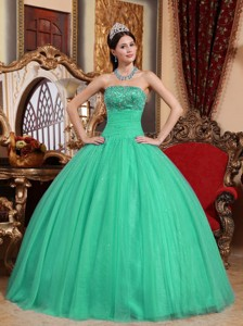 Turquoise Ball Gown Strapless Floor-length Tulle Embroidery with Beading Quinceanera Dress