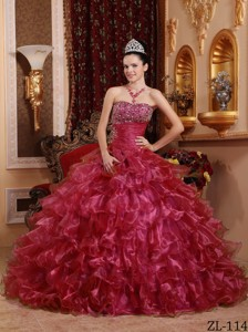Red Ball Gown Strapless Floor-length Organza Beading Quinceanera Dress