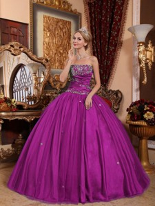Fuchsia Ball Gown Strapless Floor-length Taffeta and Tulle Appliques Quinceanera Dress