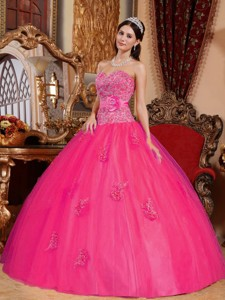 Ball Gown Sweetheart Floor-length Tulle Appliques Quinceanera Dress