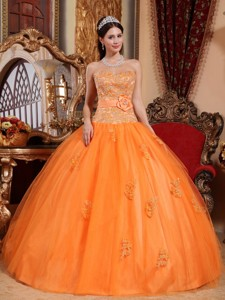 Orange Ball Gown Sweetheart Floor-length Tulle Appliques Quinceanera Dress