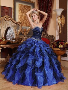 Blue and Black Sweetheart Floor-length Beading and Ruffles Quinceanera Dress