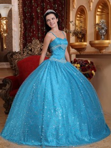 Blue Ball Gown Spaghetti Straps Floor-length Sequined Beading Quinceanera Dress