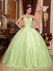 Yellow Green Ball Gown V-neck Floor-length Tulle and Taffeta Beading Quinceanera Dress