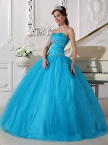 Teal Ball Gown Strapless Floor-length Tulle Beading and Ruch Quinceanera Dress