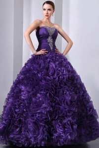 Purple Princess Strapless Floor-length Organza Beading Quinceanea Dre
