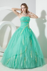 Turquoise Ball Gown Strapless Floor-length Organza Beading and Embroidery Quinceanera Dress