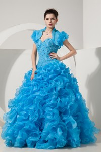 Baby Blue Princess Sweetheart Floor-length Organza Beading Prom Dress