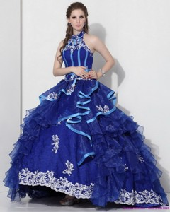 Halter Top Appliques Quinceanera Dress With Ruffles And Brush Train