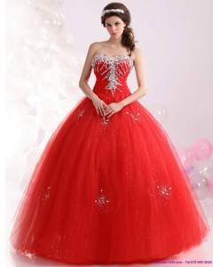 Unique Sweetheart Red Sweet Sixteen Dress With Rhinestones
