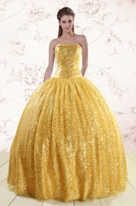 Romantic Gold Sequined Quinceanera Dress with Strapless
