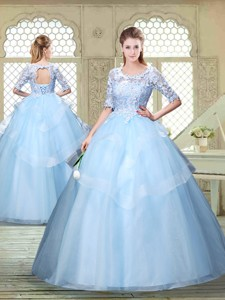 Hot Sale Half Sleeves Scoop Quinceanera Dress With Lace