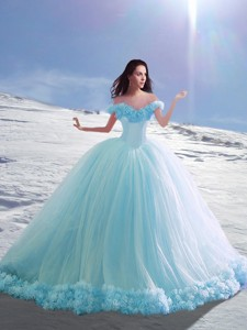 Latest Off The Shoulder Cap Sleeves Hand Made Flowers Quinceanera Dress With Court Train