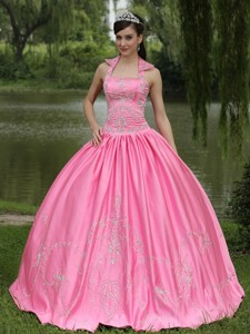 Rose Pink New Arrival Square Neckline Beaded Decorate For Quinceanera Dress