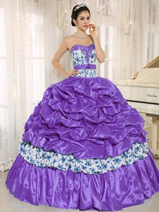 Beaded and Pick-ups For Purple Quinceanera Dress Taffeta and Printing