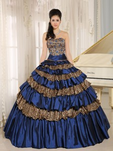 Navy Blue Leopard Ruffled Layers And Appliques With Beading Quinceanera Dress For Custom Made H