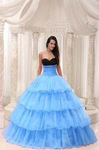 Aqua Blue Sweetheart Beaded and Layers Ball Gown Quinceanera Dress Taffeta and Organza