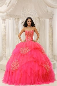 Custom Made Red Sweetheart Embroidery For Quinceanera Wear In