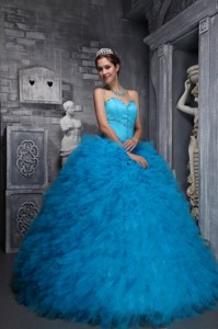Exclusive Ball Gown Sweetheart Floor-length Taffeta and Organza Beading Baby Blue Quinceanera Dress