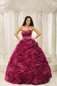 Red Sweetheart Beaded Wasit Hand Made Flower Quinceanera Dress
