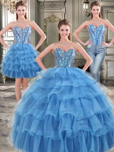 Popular Big Puffy Blue Detachable Tulle Quinceanera Dress With Beading And Ruffled Layers