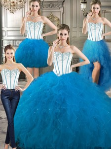 New Style Big Puffy Detachable Quinceanera Dress With Beading And Ruffles