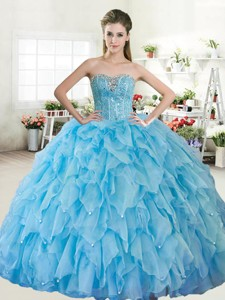 Wonderful Big Puffy Baby Blue Quinceanera Dress with Beading and Ruffled Layers